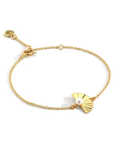 Brass Imitation Pearl Irregular Vintage Link Bracelet