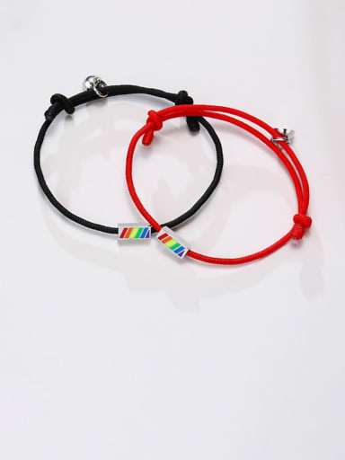 Stainless steel Enamel Geometric Minimalist Woven Bracelet