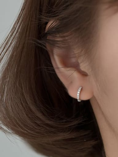 S925 silver pair silver 10mm 925 Sterling Silver Cubic Zirconia Round Minimalist Huggie Earring
