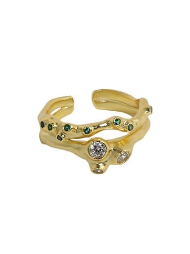 18K gold [14 adjustable 925 Sterling Silver Rhinestone Irregular Vintage Stackable Ring