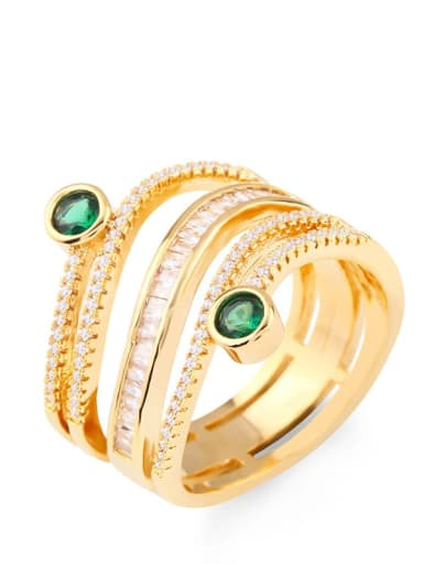 Brass Cubic Zirconia Geometric Statement Stackable Ring