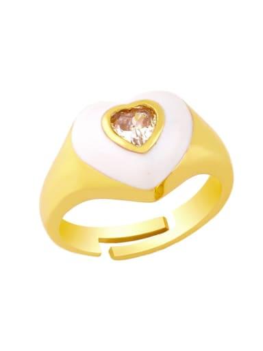 white Brass Enamel Cubic Zirconia Heart Hip Hop Band Ring