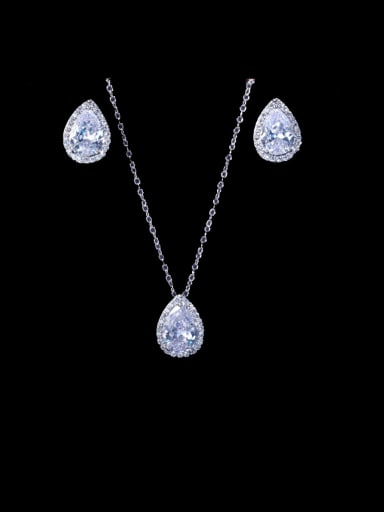 platinum Brass Cubic Zirconia Luxury Water Drop  Earring and Necklace Set