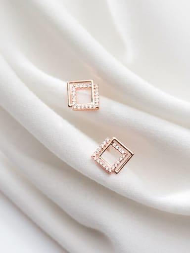 925 Sterling Silver Rhinestone Hollow Square Minimalist Stud Earring