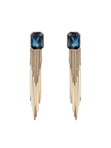 Brass Imitation crystal Geometric  Tassel Vintage Drop Earring