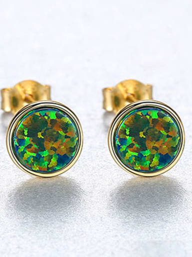 Green 18H12 925 Sterling Silver Opal Multi Color Round Minimalist Stud Earring