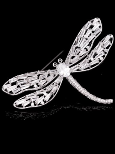 Platinum+ white Brass Cubic Zirconia Dragonfly Trend Brooch