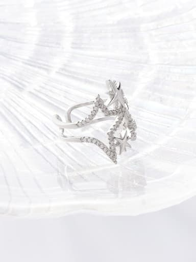B platinum Zinc Alloy Rhinestone White Ring