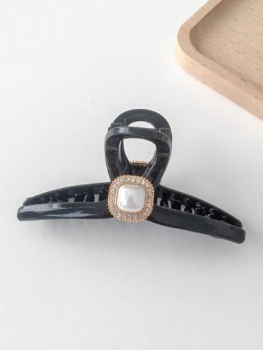 Black rectangle 11cm Alloy Rhinestone Plastic Vintage Geometric  Jaw Hair Claw