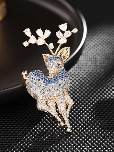 Golden Blue zirconium Brass Cubic Zirconia Deer Cute Brooch