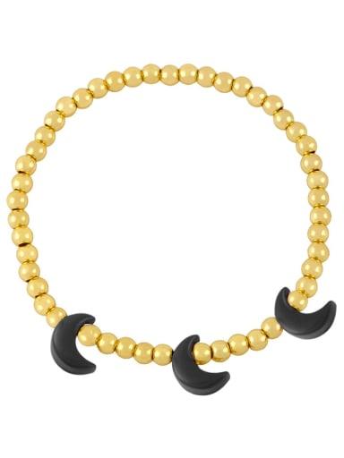 black Brass Enamel Moon Minimalist Beaded Bracelet