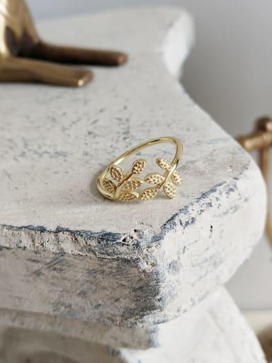 J 591 leaf ring (shut up) 925 Sterling Silver Hollow Irregular Cute Midi Ring