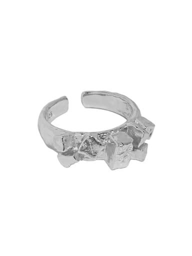 White gold [No. 14 adjustable] 925 Sterling Silver Irregular Vintage Band Ring