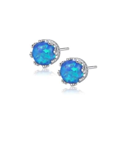 925 Sterling Silver Opal Blue Round Minimalist Stud Earring