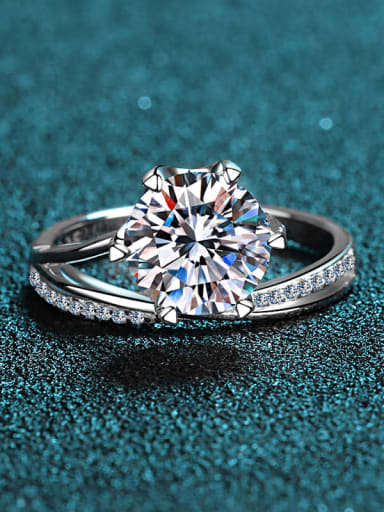 Sterling Silver Moissanite White Flwoer Engagement Rings