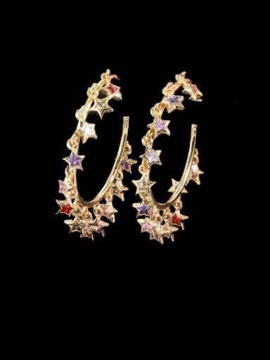Gold color Brass Cubic Zirconia Geometric Luxury Huggie Earring