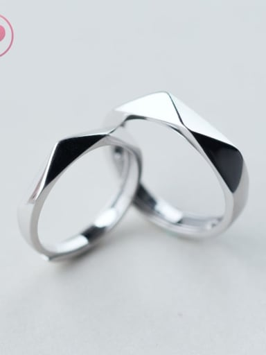 925 Sterling Silver Smooth Geometric Minimalist Couple Ring