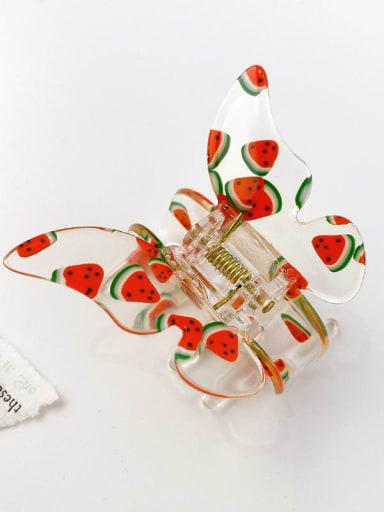 Watermelon 6.3cm Acrylic Minimalist Butterfly Alloy Multi Color Jaw Hair Claw