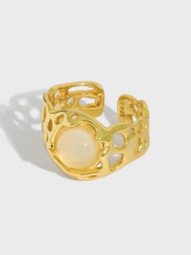 925 Sterling Silver Cats Eye Irregular Vintage Band Ring