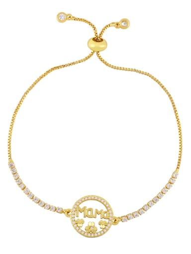 Brass Cubic Zirconia Heart Vintage Link Bracelet