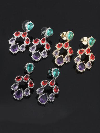Brass Cubic Zirconia Multi Color Water Drop Luxury Chandelier Earring