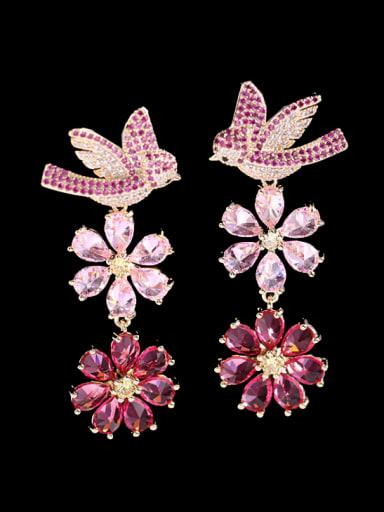 Brass Cubic Zirconia Flower Statement Cluster Earring