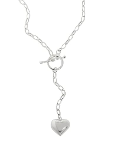 925 Sterling Silver Heart Vintage Lariat Necklace