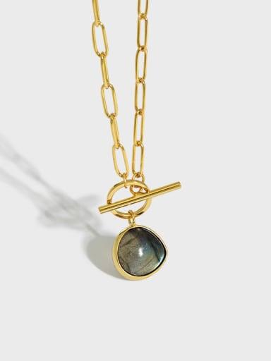 925 Sterling Silver Opal Geometric Vintage Necklace