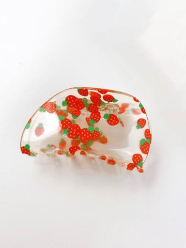 Strawberry 7.5cm Alloy Acrylic Minimalist Friut  Jaw Hair Claw