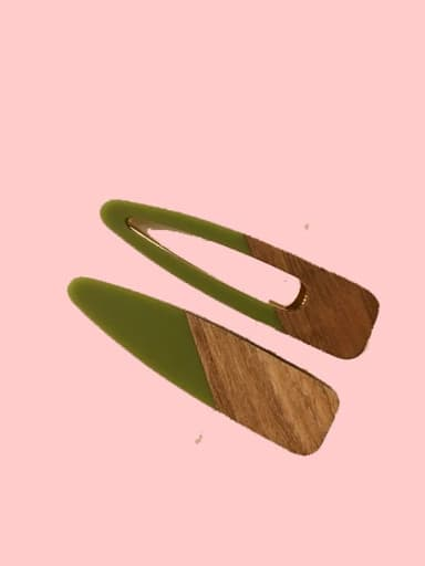 5 Green Cellulose Acetate Minimalist Water Drop Alloy Hair Barrette