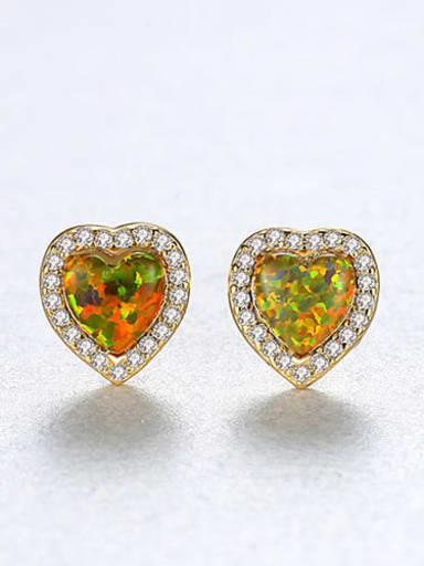 Color zirconium 18h09 925 Sterling Silver Opal Heart Dainty Stud Earring