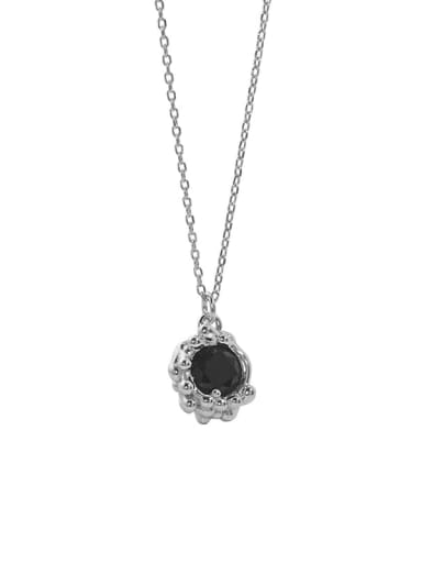 Platinum 925 Sterling Silver Cubic Zirconia Oval Vintage Necklace