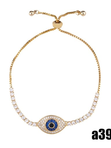 Golden blue eyes Brass Cubic Zirconia Evil Eye Minimalist Adjustable Bracelet