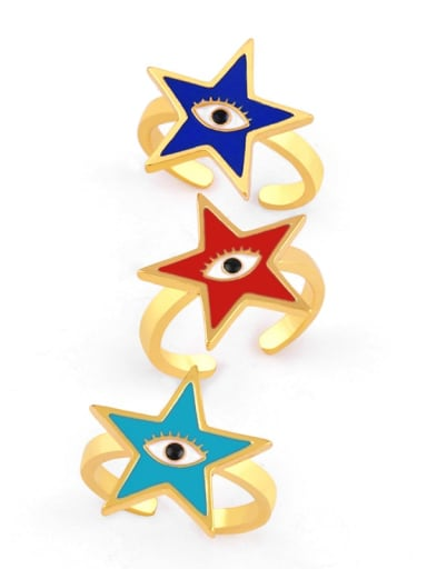 Brass Enamel Star Minimalist Band Ring