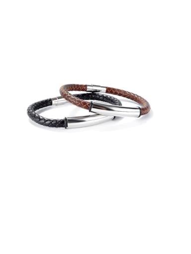 Titanium Steel Leather Geometric Hip Hop Woven Wire  Bracelet