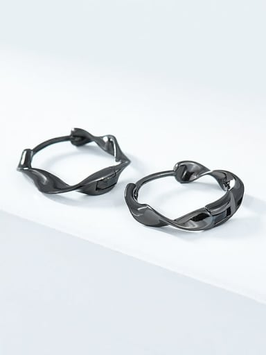 Gun black 925 Sterling Silver Geometric Minimalist Huggie Earring