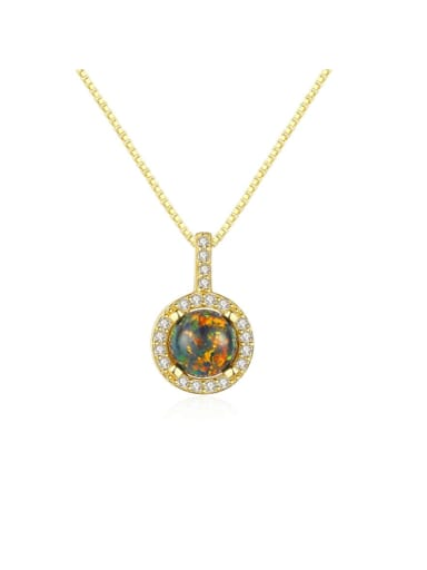 925 Sterling Silver Opal Simple round pendant Necklace