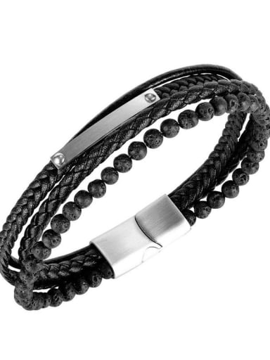 Titanium Steel Leather Geometric Hip Hop Set Bangle