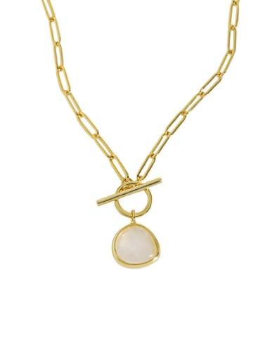 18K gold 925 Sterling Silver Cats Eye Geometric Vintage Necklace