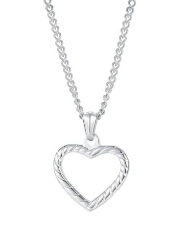 1999 [steel single pendant] Titanium Steel Minimalist  Hollow Heart  Pendant