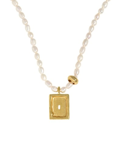 dark  gold 925 Sterling Silver Freshwater Pearl Geometric Vintage Necklace