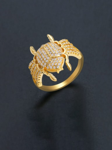 Brass Cubic Zirconia Insect Luxury Band Ring