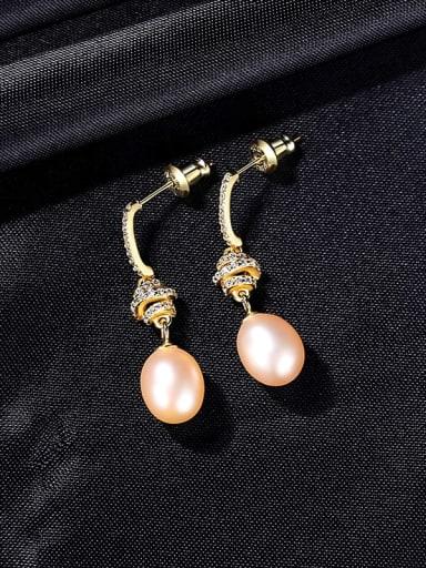 Pk 9B06 925 Sterling Silver Imitation Pearl Water Drop Dainty Drop Earring