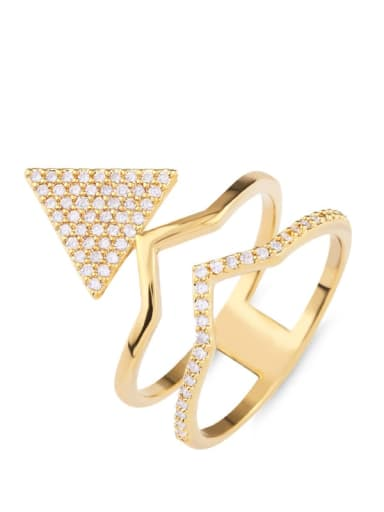Brass Cubic Zirconia Triangle Statement Cocktail Ring