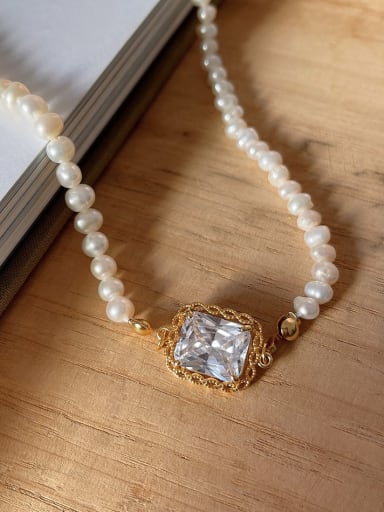 925 Sterling Silver Imitation Pearl Geometric Vintage Necklace