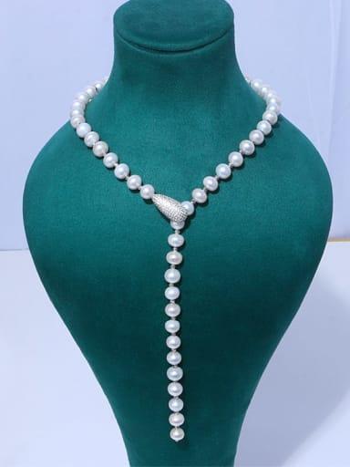 Brass Freshwater Pearl Tassel Vintage Lariat Necklace