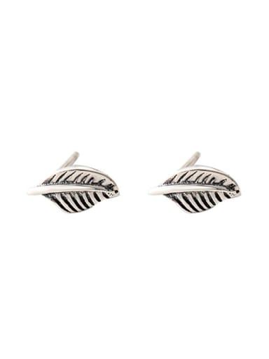 925 Sterling Silver Leaf Vintage Stud Earring