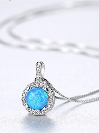 Blue 20f08 925 Sterling Silver Opal Simple round pendant Necklace