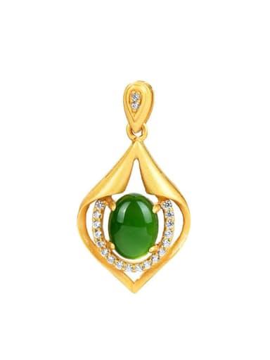 925 Sterling Silver Jade  Geometric Vintage Pendant