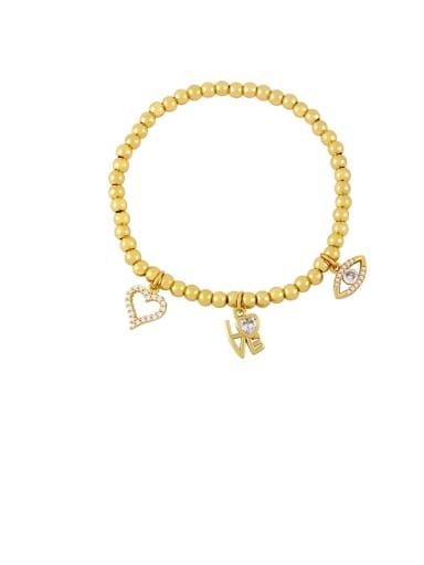 B Brass Cubic Zirconia Star Vintage Beaded Bracelet
